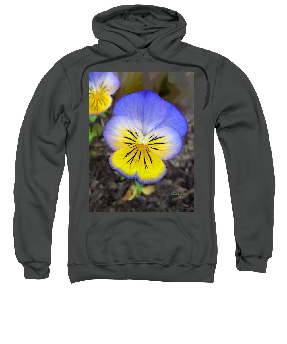 Flower Sweatshirt featuring the painting Painting Of Pansey Flower by Susanna Katherine