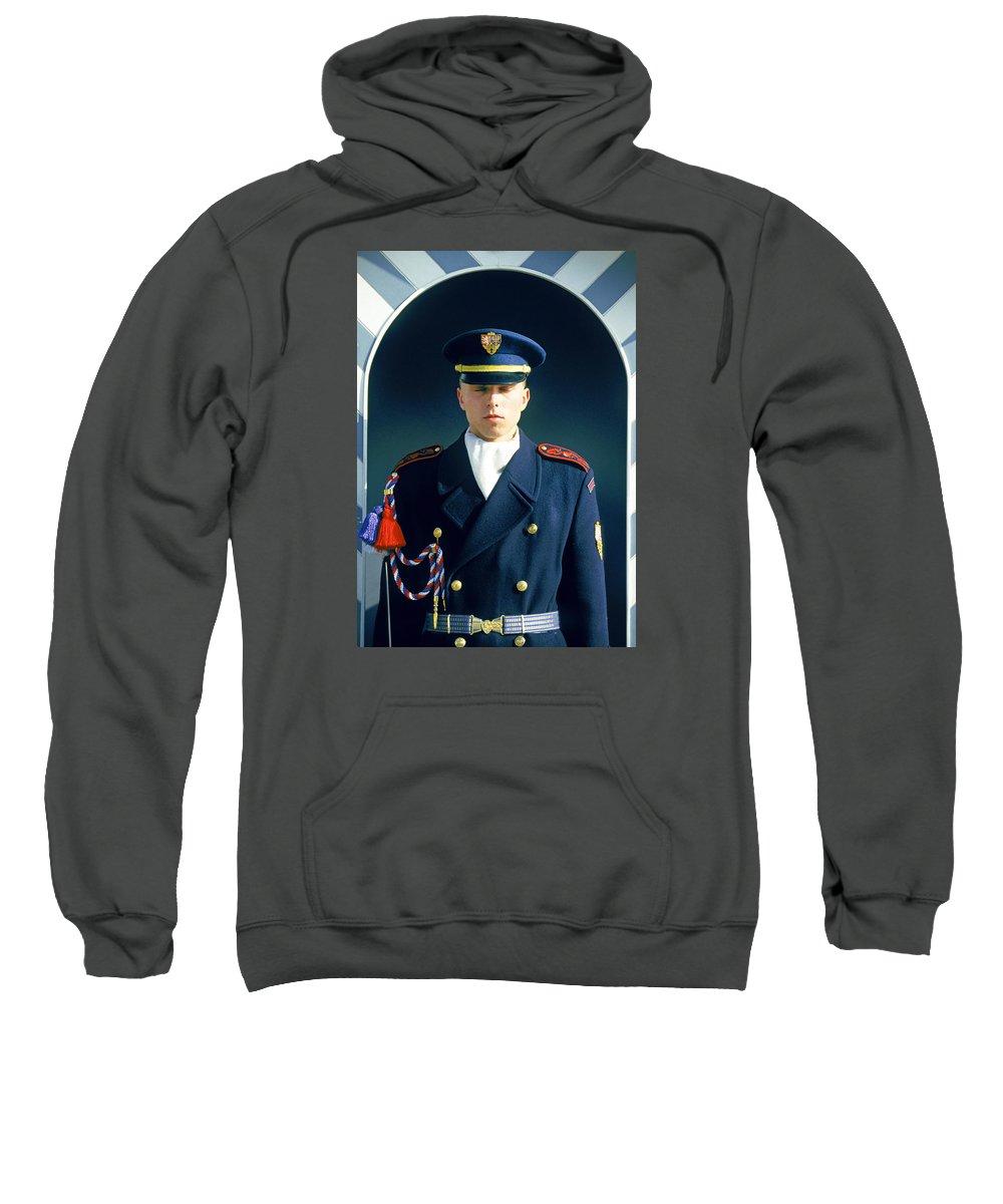 Czech Sweatshirt featuring the photograph Palace Guard, Prague by Buddy Mays