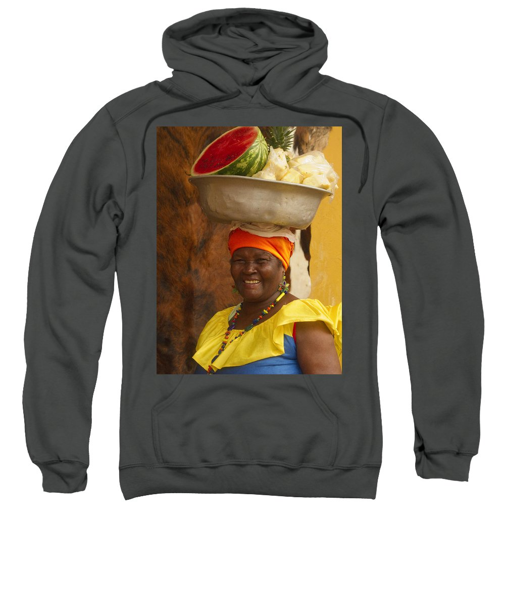 Cartagena Sweatshirt featuring the photograph Palenquera In Cartagena Colombia by David Smith