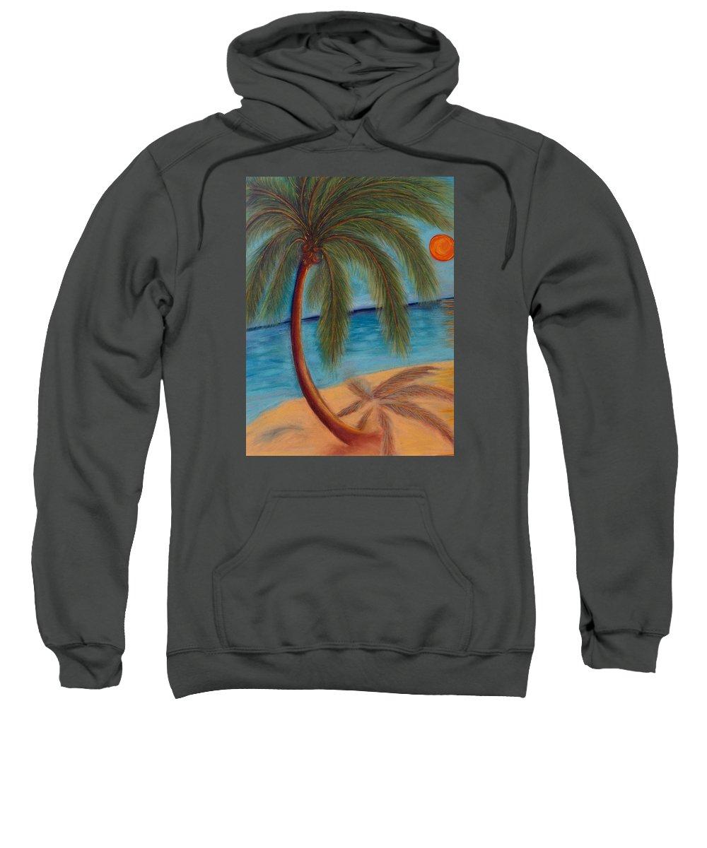 Beach Sweatshirt featuring the pastel Palm Tree On The Beach by Liz Palumbo