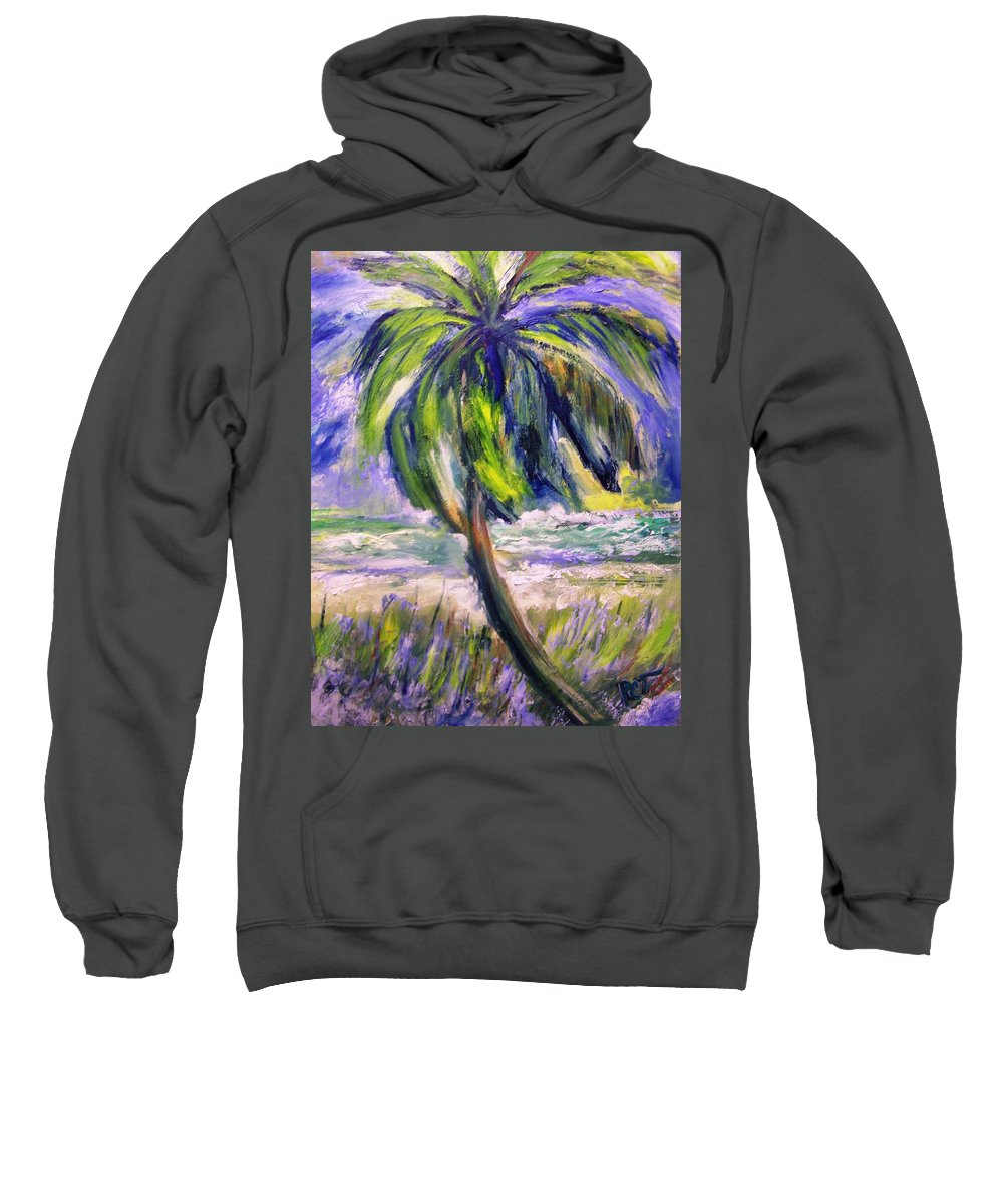 Palm Tree Sweatshirt featuring the painting Palm Tree On Windy Beach by Patricia Taylor