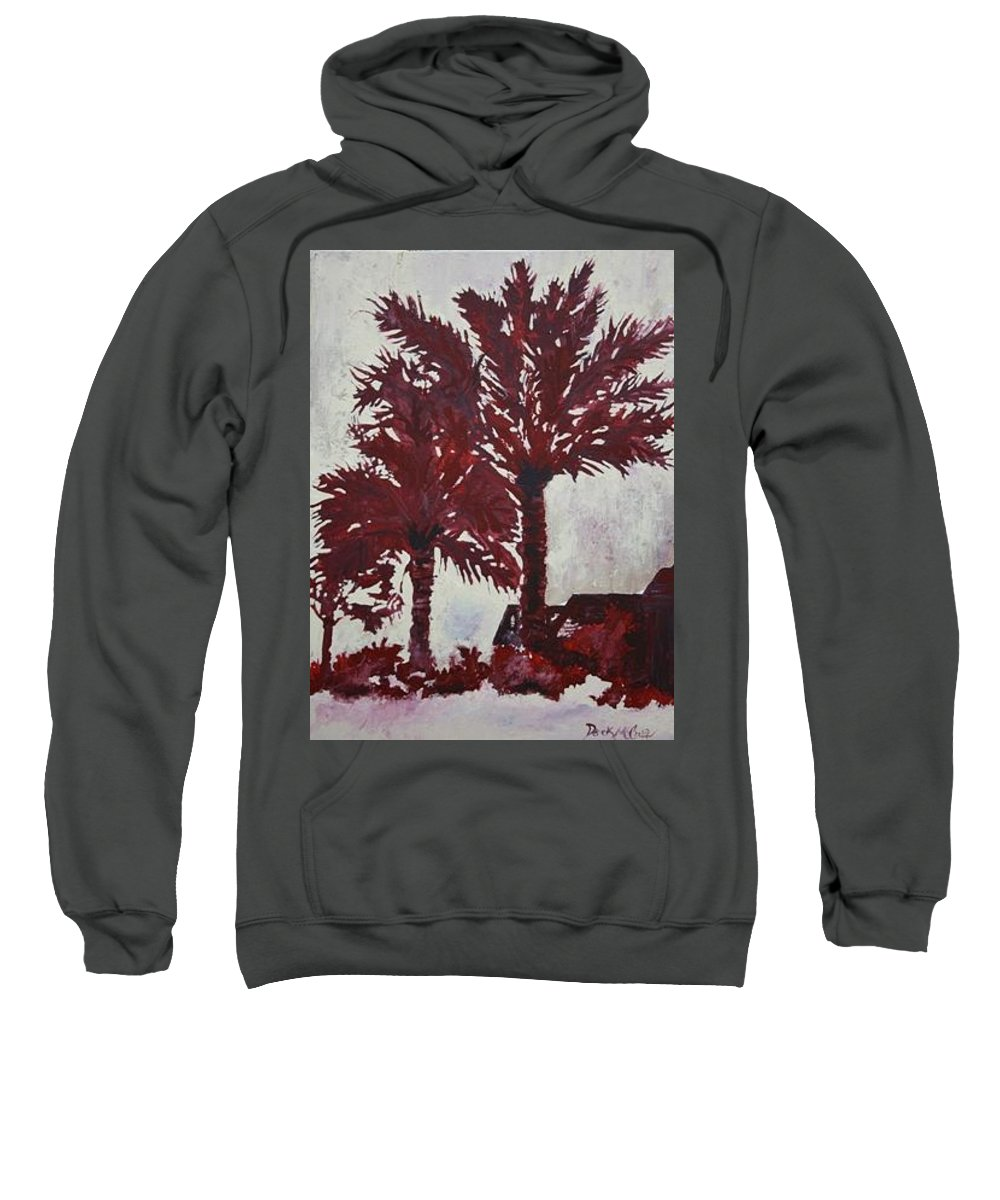 Palm Trees Sweatshirt featuring the painting Palm Trees Acrylic Modern Art Painting by Derek Mccrea