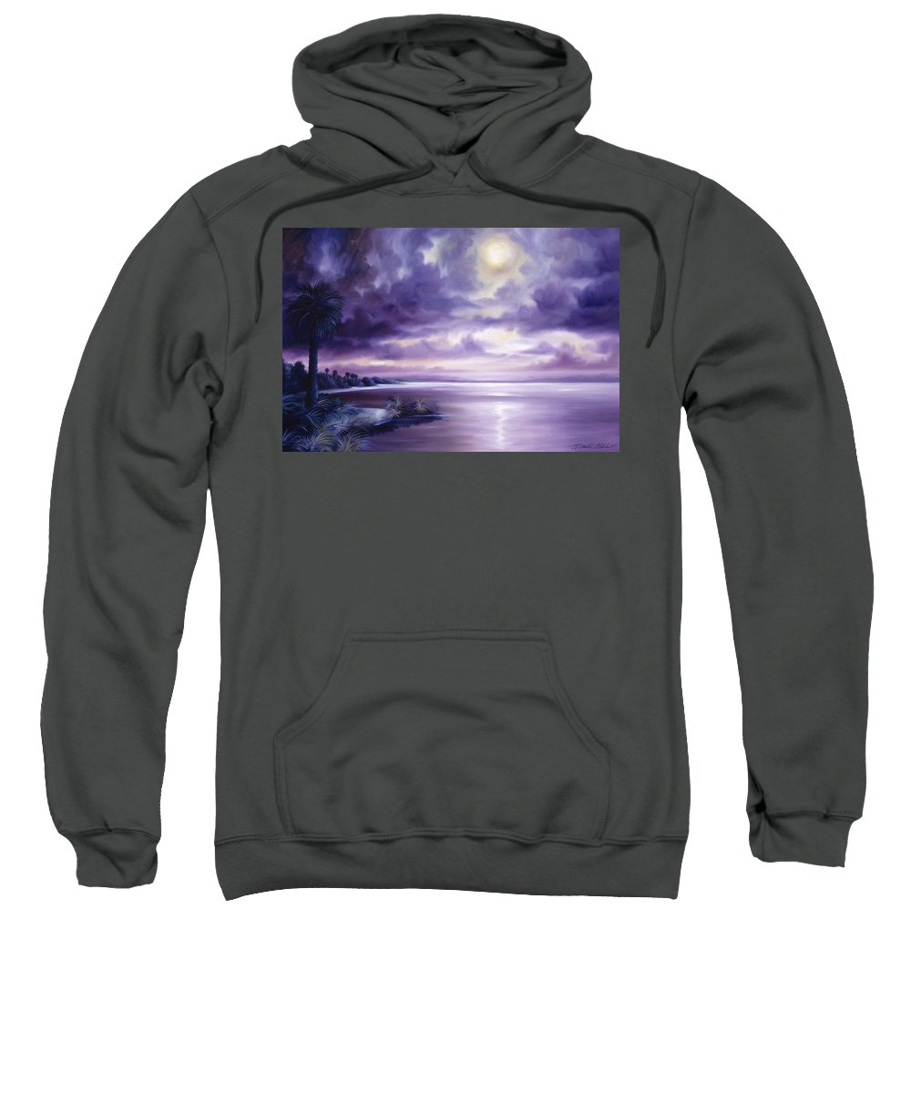 Moon Sweatshirt featuring the painting Palmetto Moonscape by James Christopher Hill