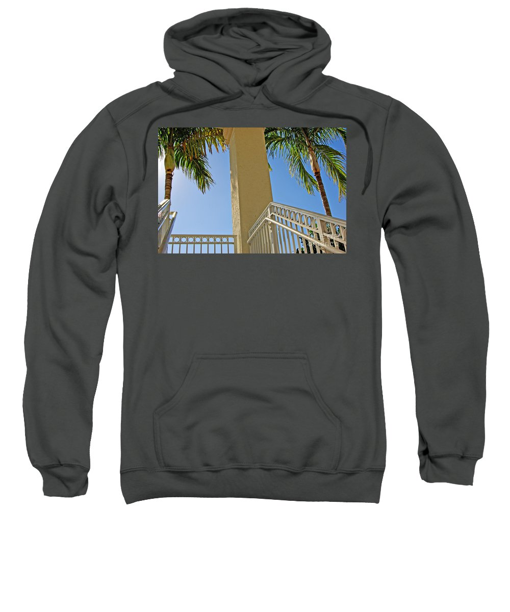 Palm Sweatshirt featuring the photograph Palms And Stairs by Zal Latzkovich