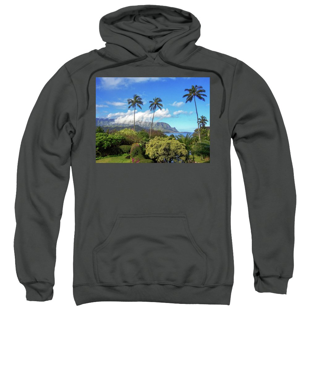 Landscape Sweatshirt featuring the photograph Palms At Hanalei by James Eddy