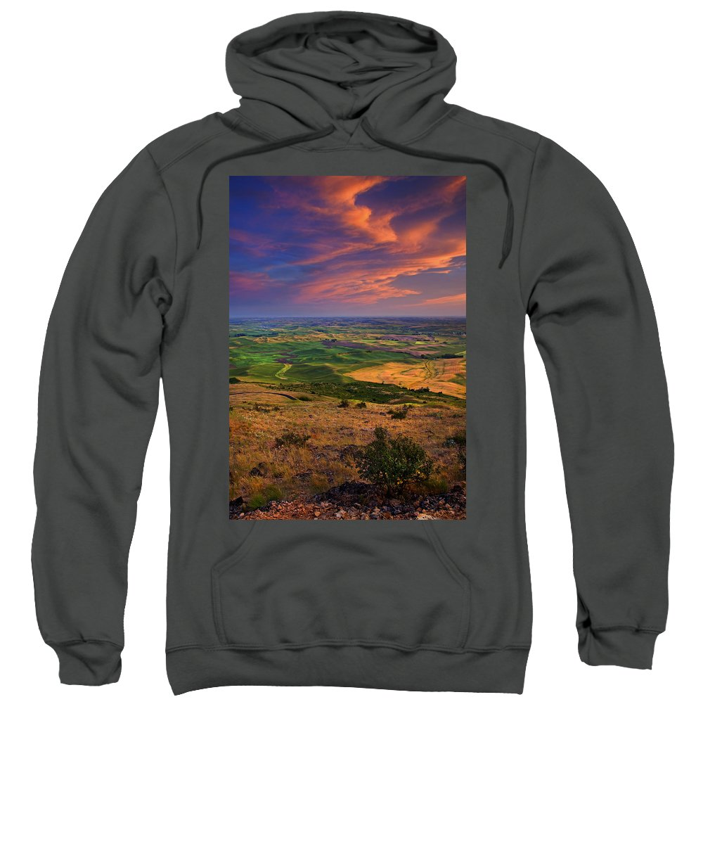 Palouse Sweatshirt featuring the photograph Palouse Skies Ablaze by Mike Dawson