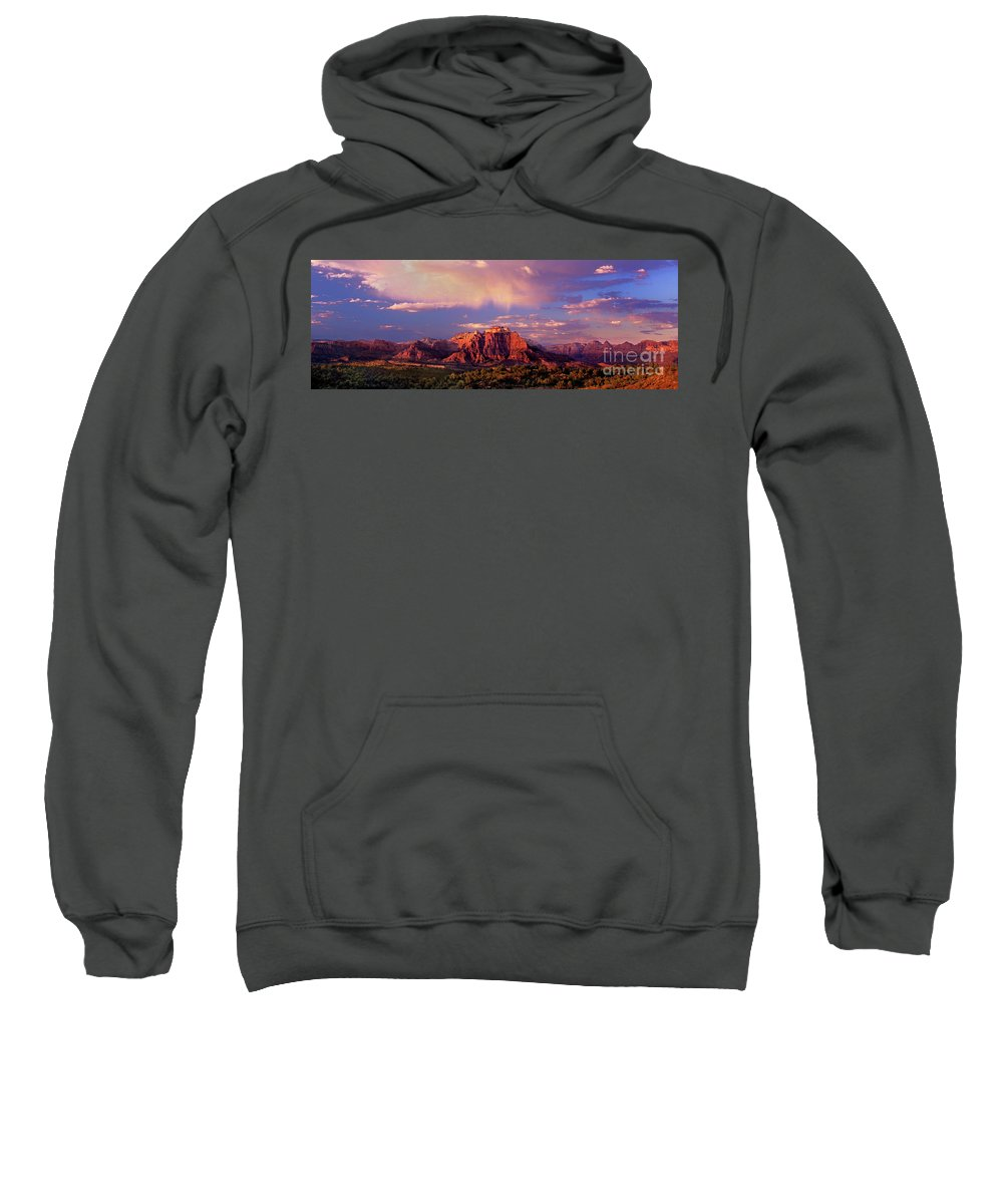 North America Sweatshirt featuring the photograph Panorama West Temple At Sunset Zion Natonal Park by Dave Welling