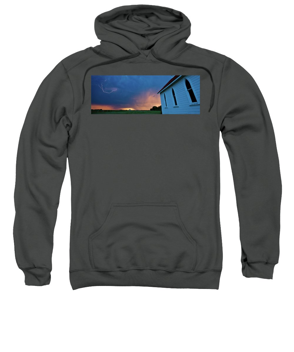Sweatshirt featuring the digital art Panoramic Lightning Storm And Church by Mark Duffy