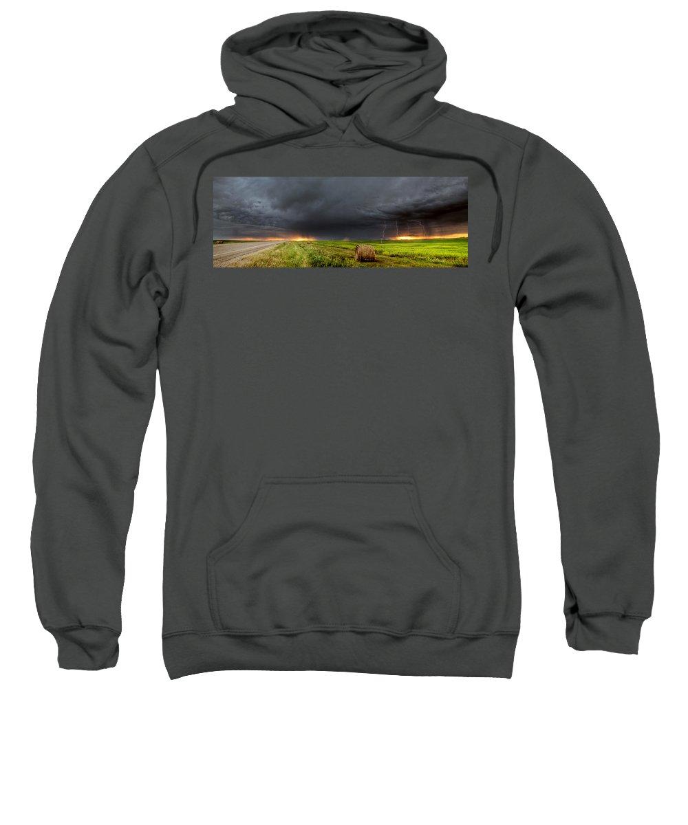 Sweatshirt featuring the digital art Panoramic Lightning Storm In The Prairies by Mark Duffy