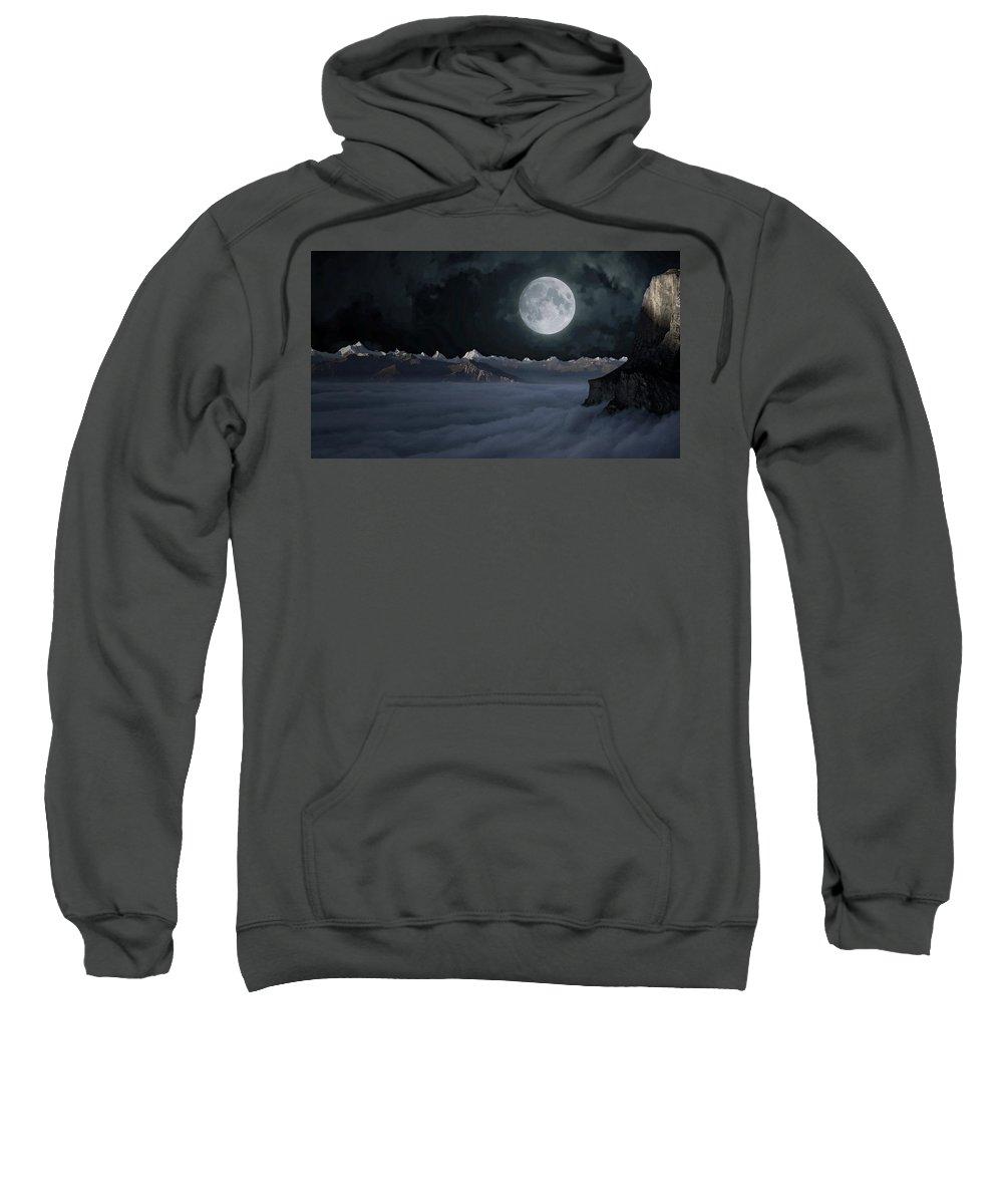 Switzerland Sweatshirt featuring the photograph Panoramic Moonscape by Anthony Dezenzio