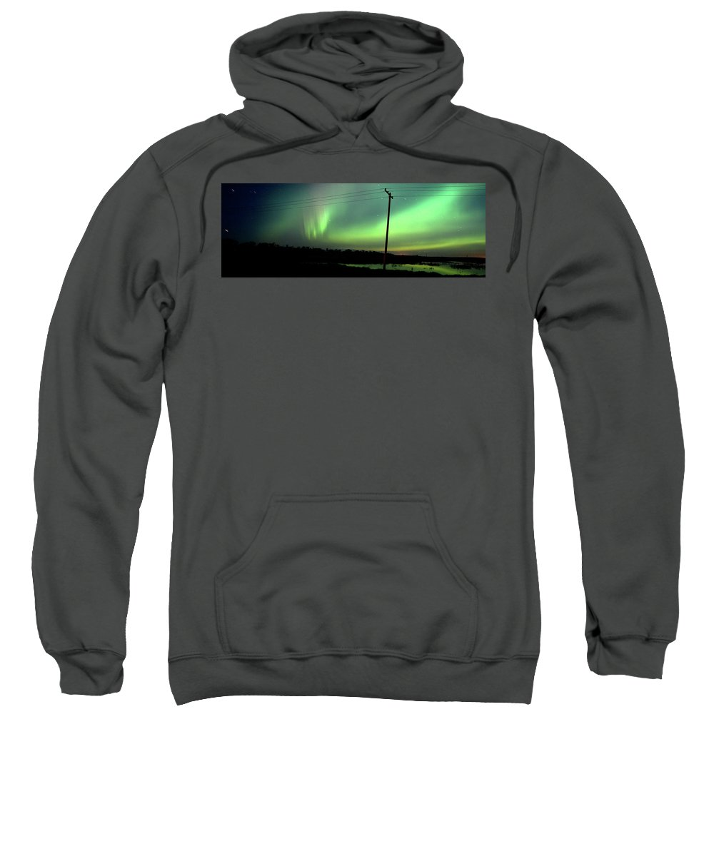 Sweatshirt featuring the digital art Panoramic Prairie Northern Lights by Mark Duffy