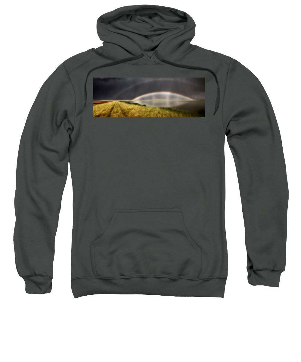 Sweatshirt featuring the digital art Panoramic Storm In The Marshes by Mark Duffy