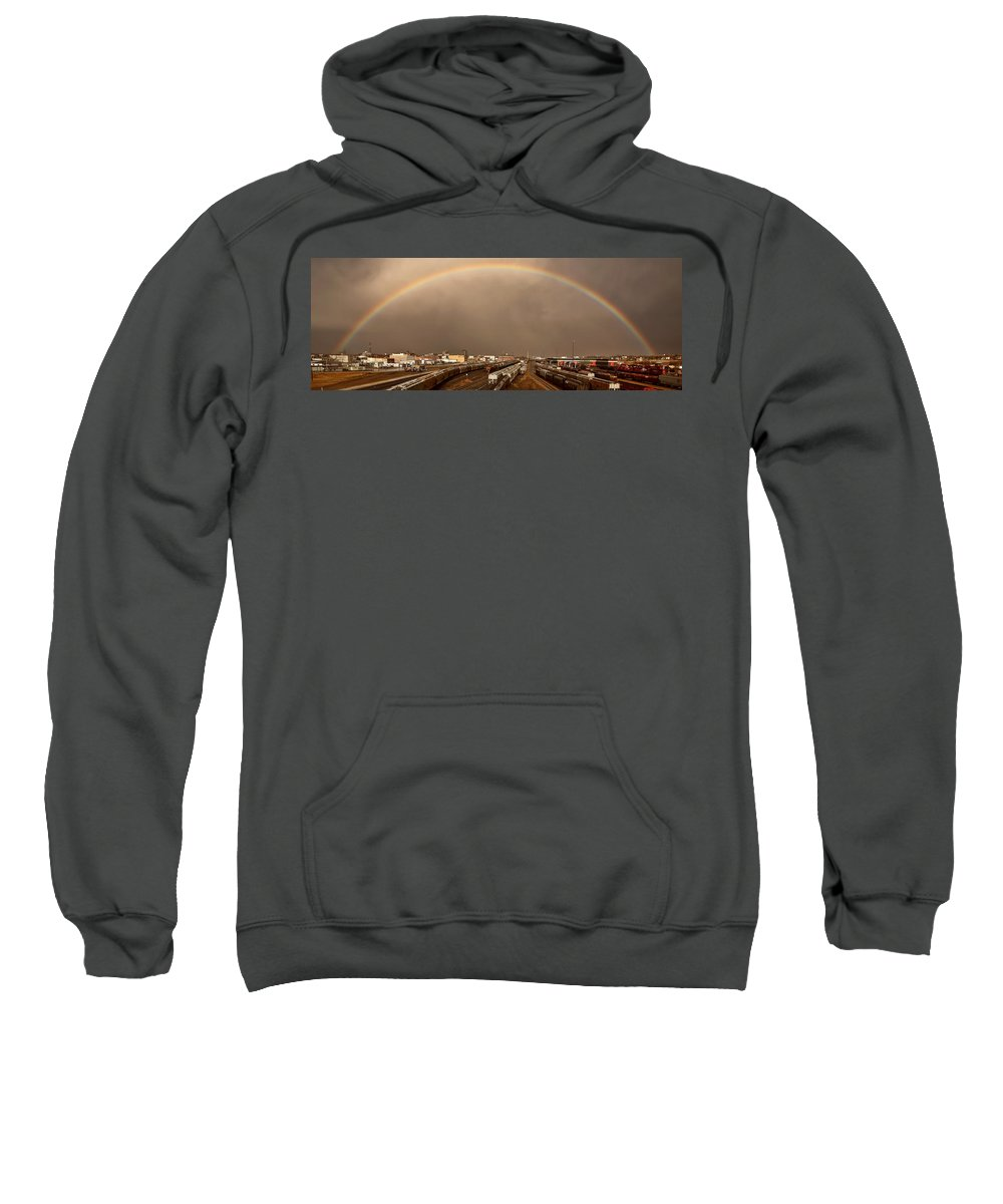 Sweatshirt featuring the digital art Panoramic Train Yard Storm by Mark Duffy