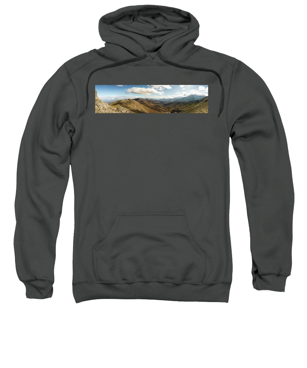 Asco Sweatshirt featuring the photograph Panoramic View Of Olmi Cappella Valley With In Corsica by Jon Ingall
