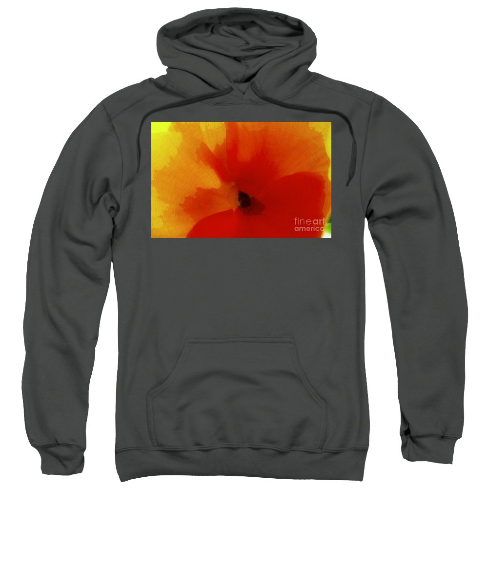 Red Sweatshirt featuring the photograph Pansy Swirl by Danielle Basler