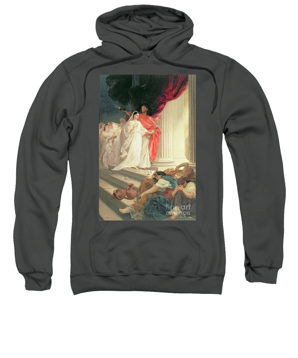 Matthew Sweatshirt featuring the painting Parable Of The Wise And Foolish Virgins by Baron Ernest Friedrich von Liphart