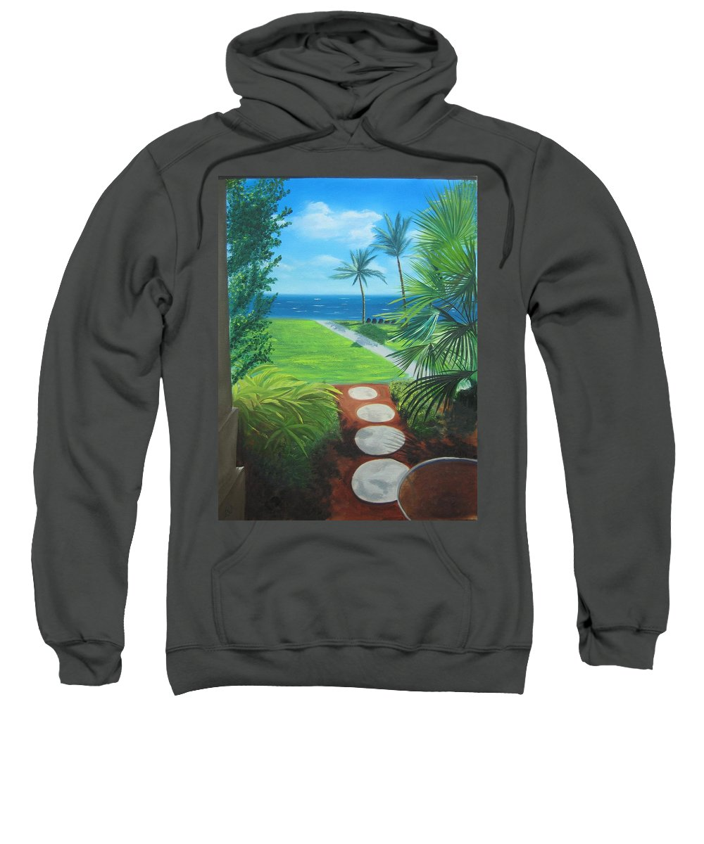 Seascape Sweatshirt featuring the painting Paradise Beckons by Lea Novak
