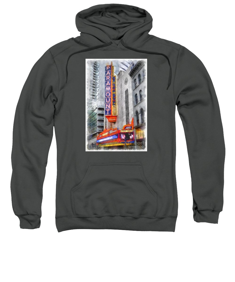 Paramount Sweatshirt featuring the painting Paramount Theater Boston Ma by Edward Fielding