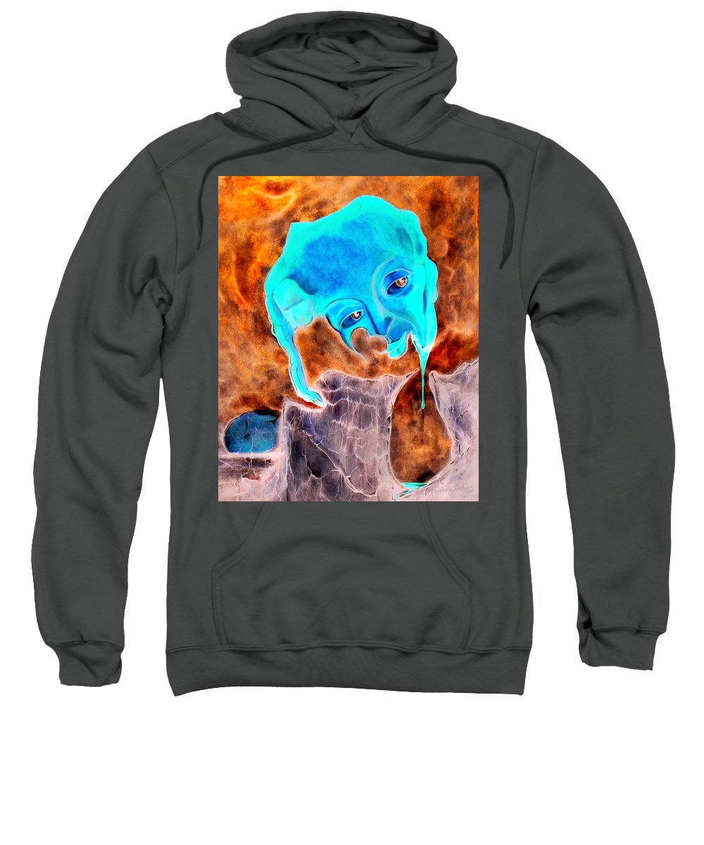Red Blood Surrealism Color Sweatshirt featuring the painting Paris H by Veronica Jackson