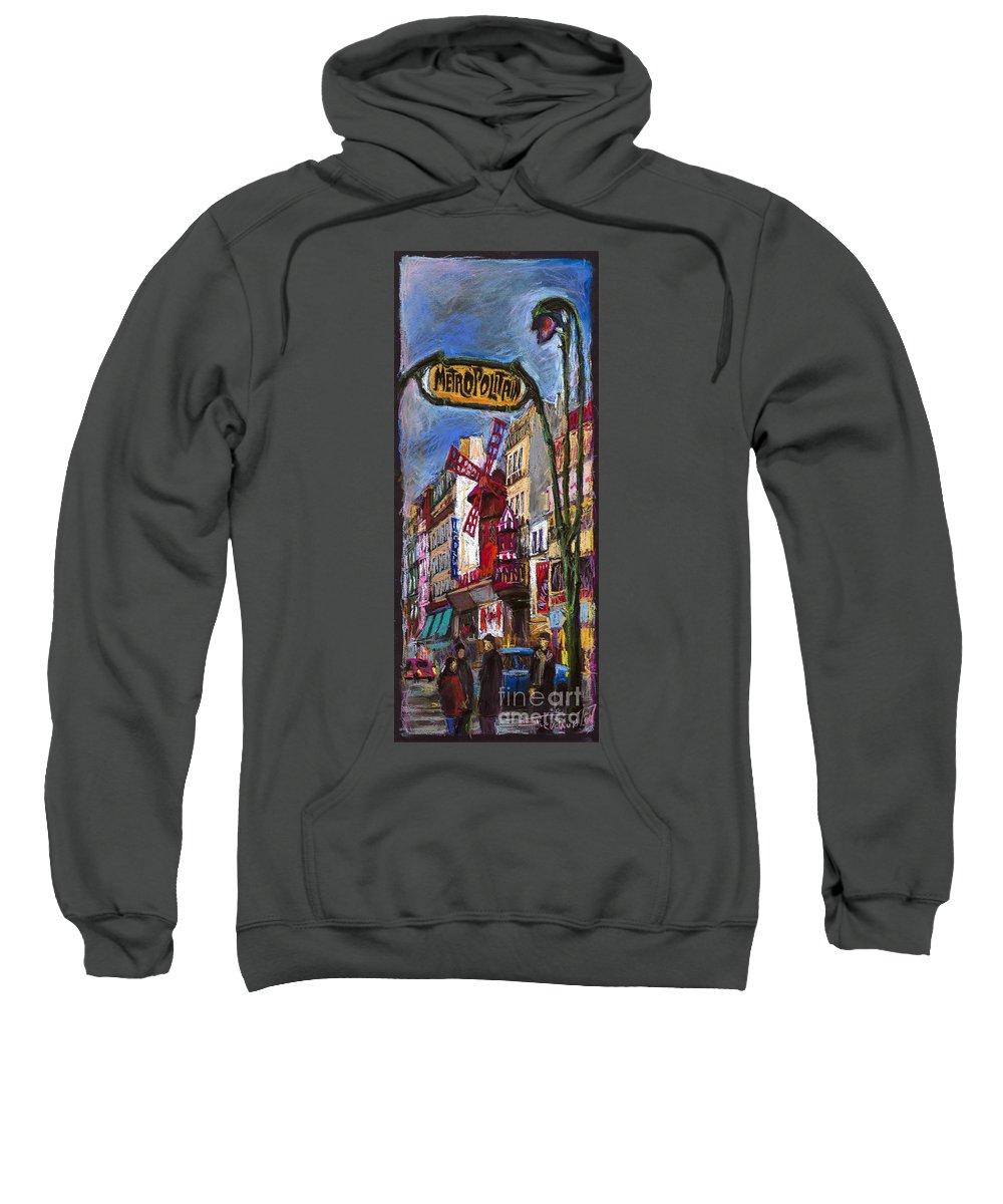 Cityscape Sweatshirt featuring the painting Paris Mulen Rouge by Yuriy Shevchuk