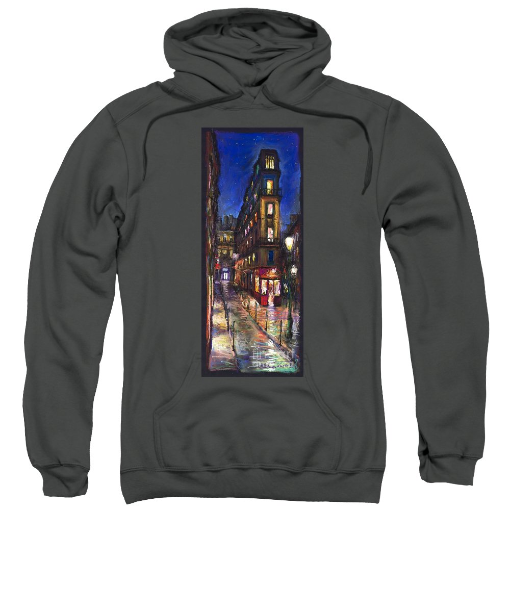 Landscape Sweatshirt featuring the painting Paris Old Street by Yuriy Shevchuk