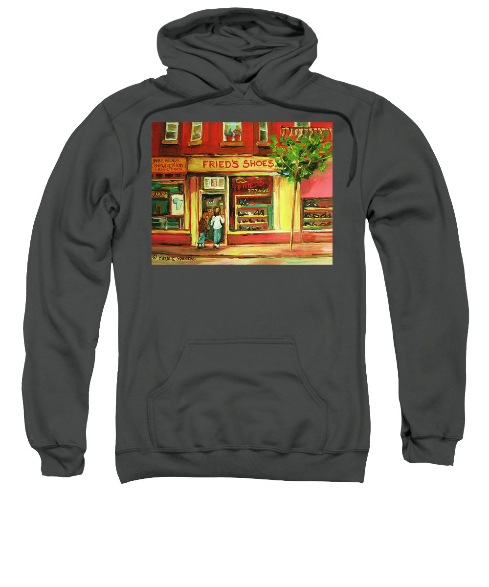Montreal Sweatshirt featuring the painting Park Avenue Shoe Store by Carole Spandau