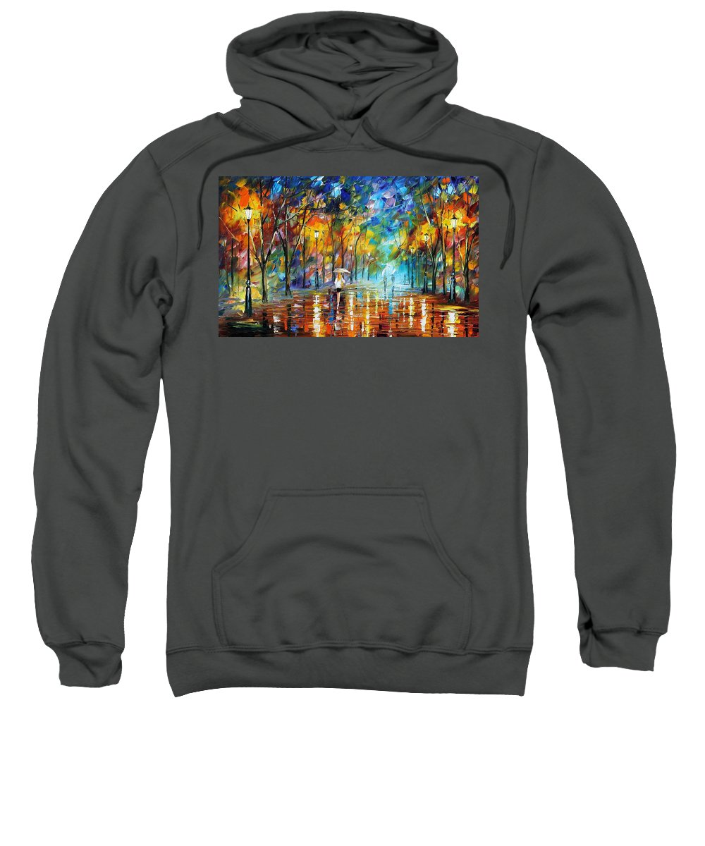 Afremov Sweatshirt featuring the painting Park Of Pleasure by Leonid Afremov