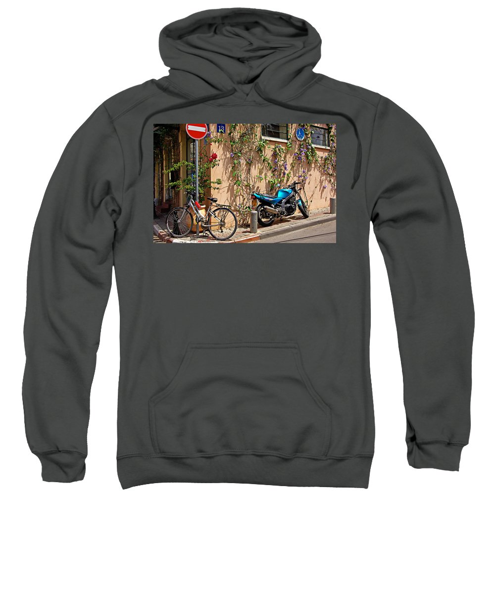 Parking Sweatshirt featuring the photograph Parking Corner by Zal Latzkovich