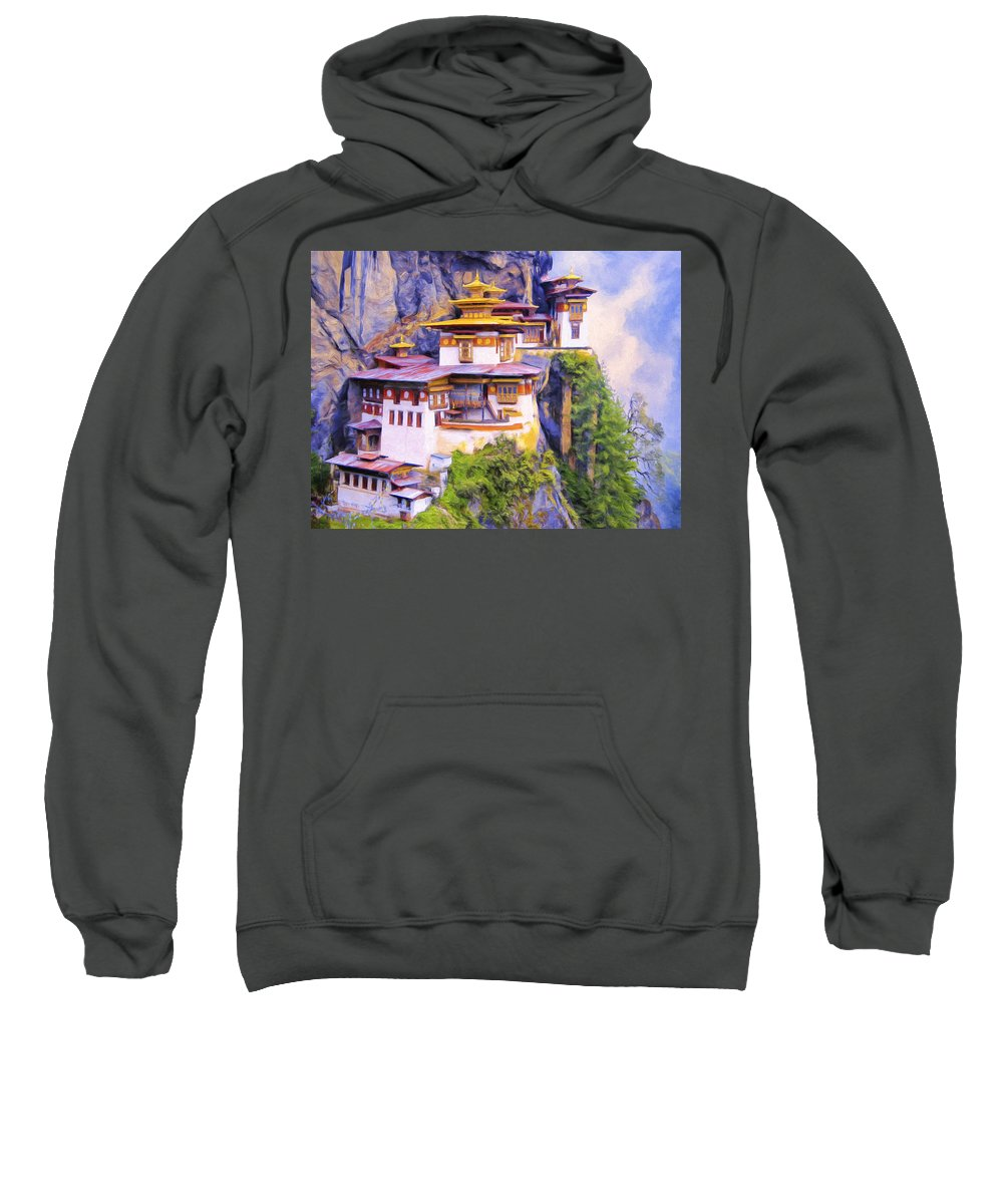 Tiger's Nest Sweatshirt featuring the painting Paro Taktsang Monastery Bhutan by Dominic Piperata