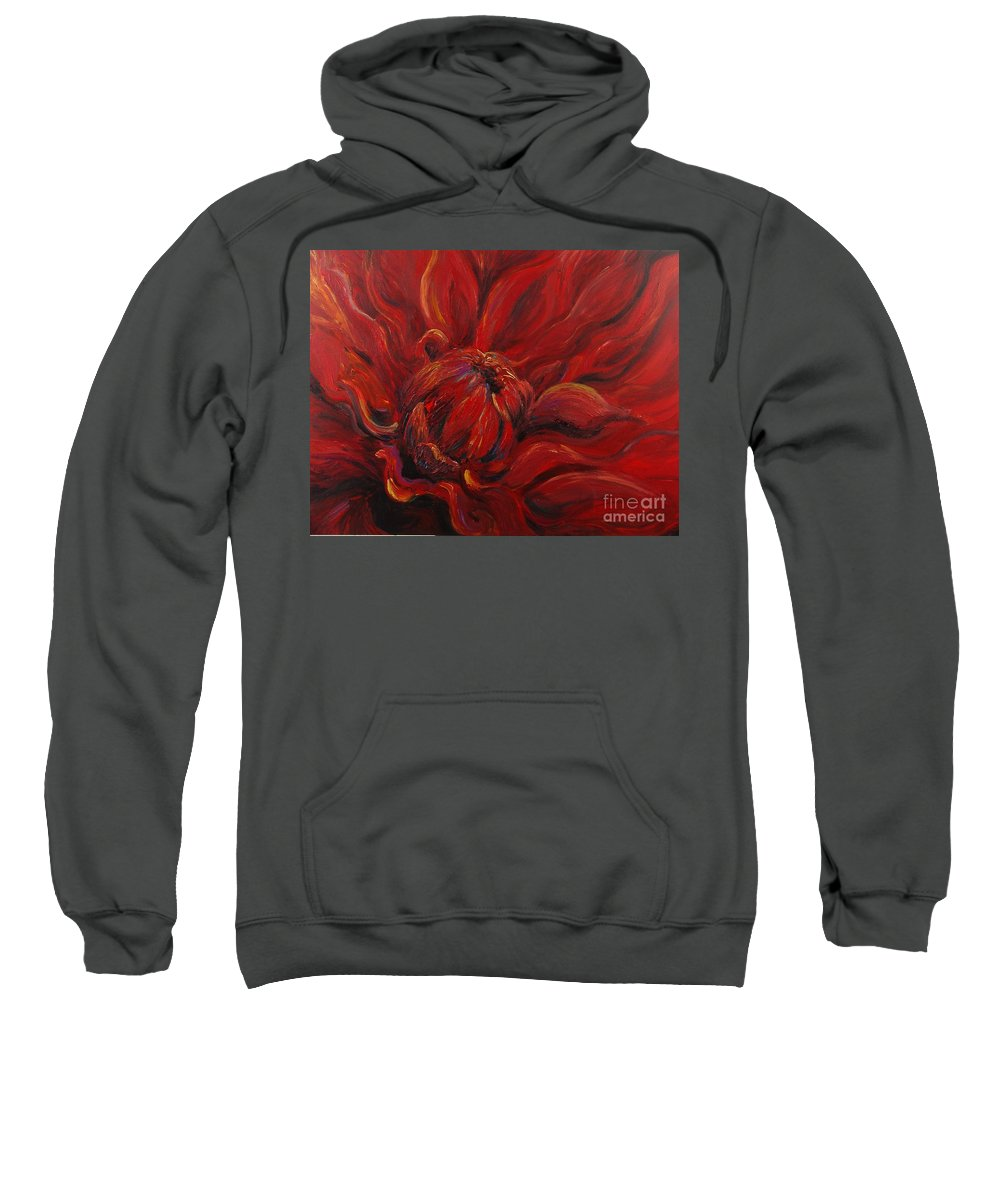 Red Sweatshirt featuring the painting Passion II by Nadine Rippelmeyer