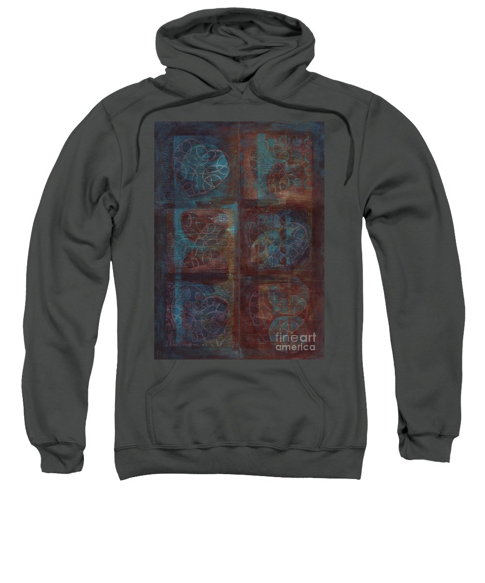 Australia Sweatshirt featuring the painting Passion Play - Six Of Hearts by Kerryn Madsen - Pietsch