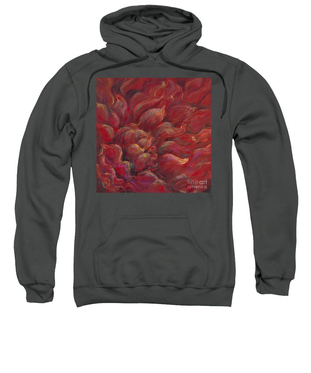 Red Sweatshirt featuring the painting Passion V by Nadine Rippelmeyer