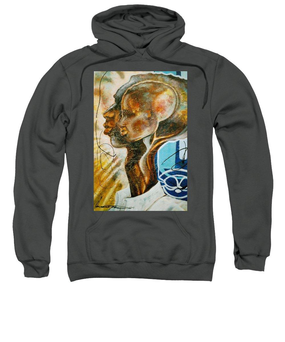 Paternal Sweatshirt featuring the painting Paternal Captivity by Hasaan Kirkland