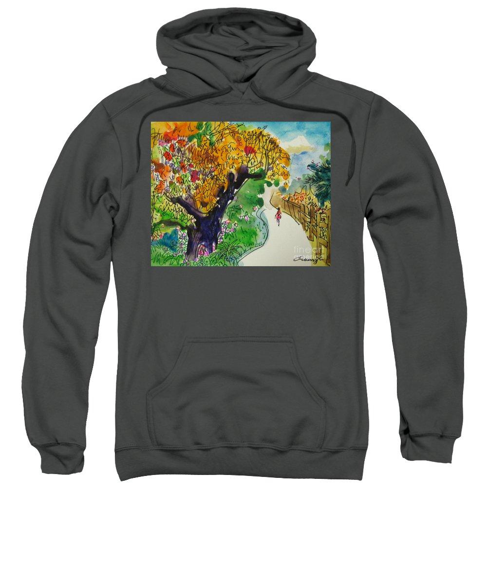 Path Sweatshirt featuring the drawing Path by Guanyu Shi