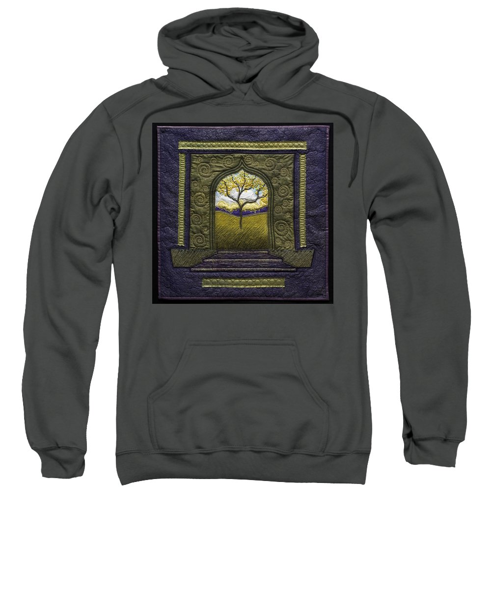 Landscape Sweatshirt featuring the tapestry - textile Pathway To Peace by Dottie Moore