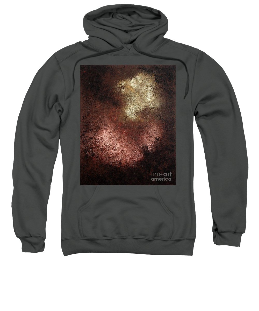 Copper Sweatshirt featuring the painting Patina by INA FineArt
