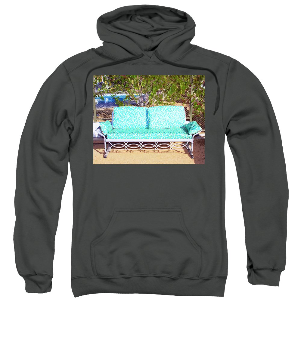 Patio Furniture Sweatshirt featuring the photograph Patio Invitation Palm Springs by William Dey