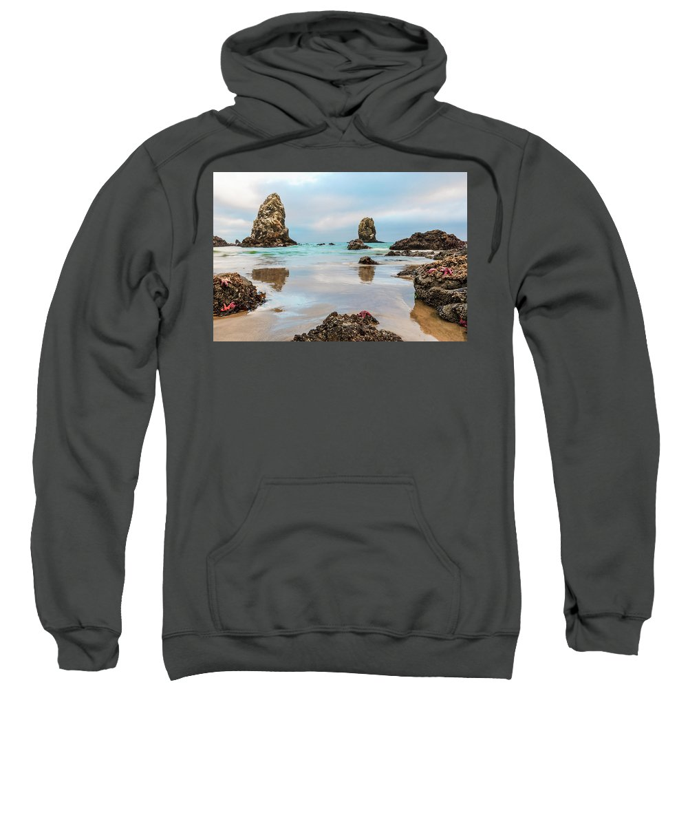Cannon Beach Sweatshirt featuring the photograph Patrick And Friends Visit Cannon Beach by Scott Campbell