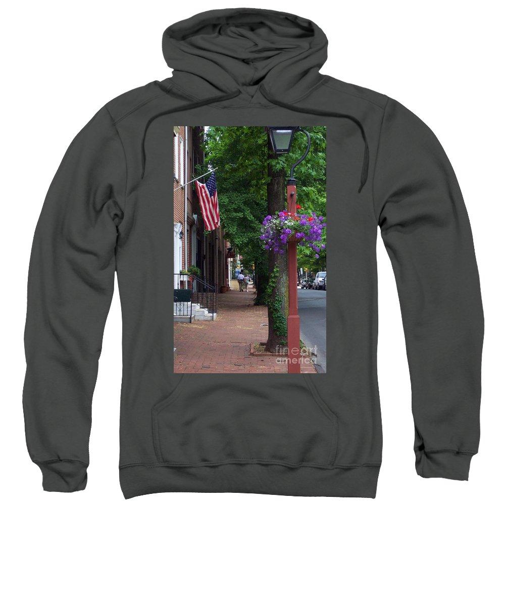 Cityscape Sweatshirt featuring the photograph Patriotic Street In Philadelphia by Debbi Granruth