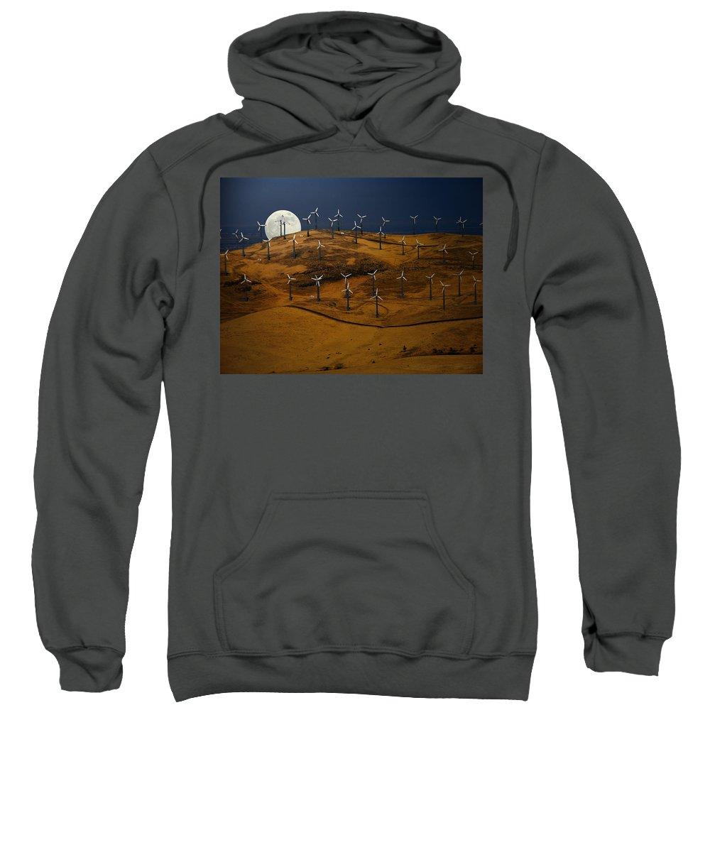 Landscape Sweatshirt featuring the photograph Patterson Pass Wind Farm by Karen W Meyer