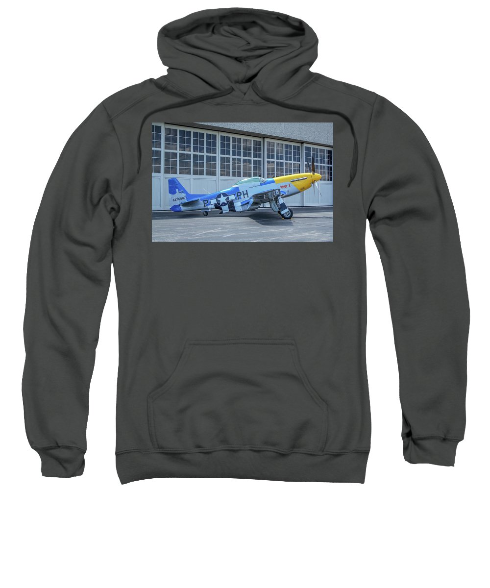 North American P-51d Mustang Sweatshirt featuring the photograph Paul 1 P-51d Mustang by Tommy Anderson