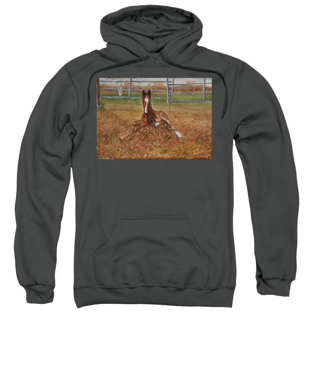 Colt Sweatshirt featuring the painting Pavlo's First Day by Ruth Kamenev
