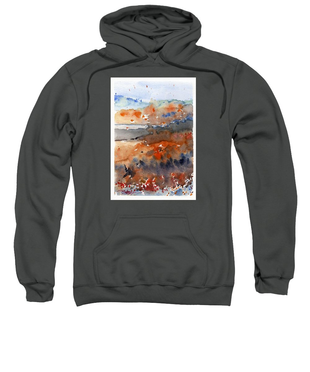 Seascape Sweatshirt featuring the painting Paysage Cc by Alexandre DUMITRESCU