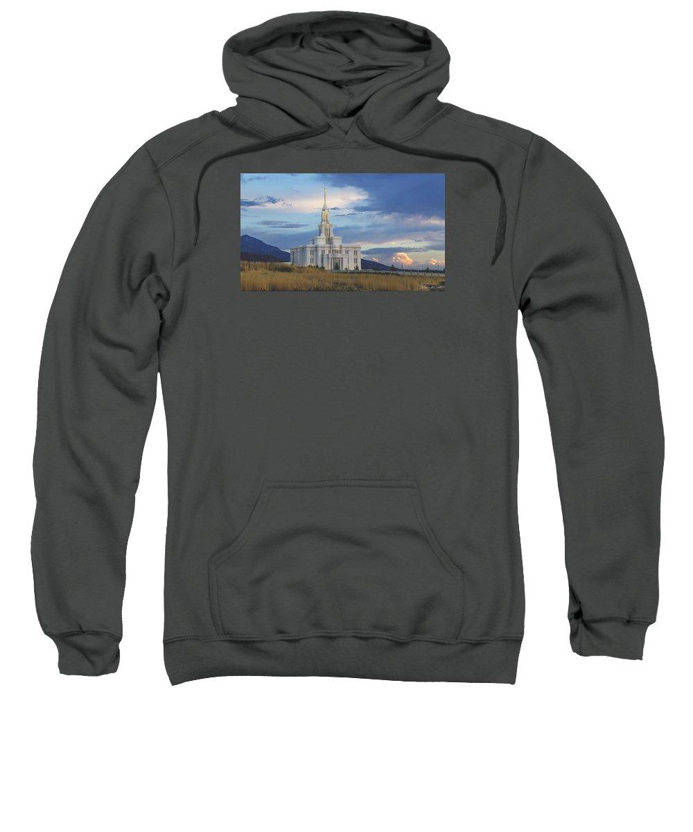 Payson Temple Sweatshirt featuring the photograph Payson Temple At Dusk by Dakota Corbin