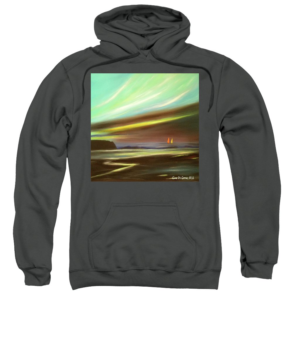 Brown Sweatshirt featuring the painting Peace Is Colorful - Square Painting by Gina De Gorna