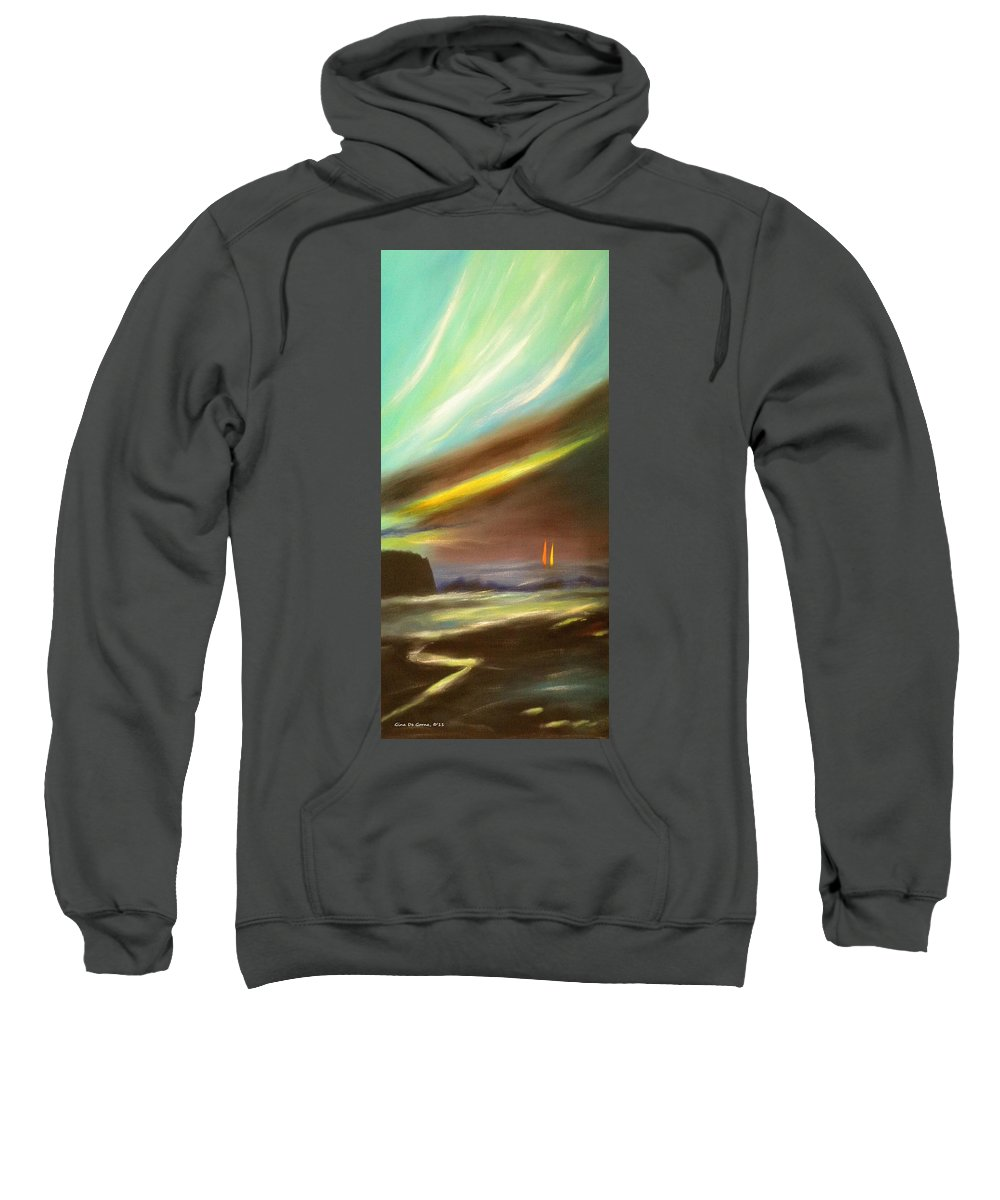 Sunset Sweatshirt featuring the painting Peace Is Colorful - Vertical Painting by Gina De Gorna
