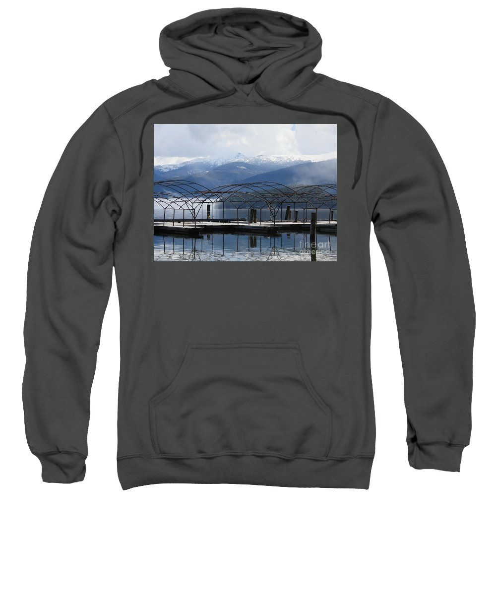 Priest Lake Sweatshirt featuring the photograph Peaceful Docks At Priest Lake by Carol Groenen