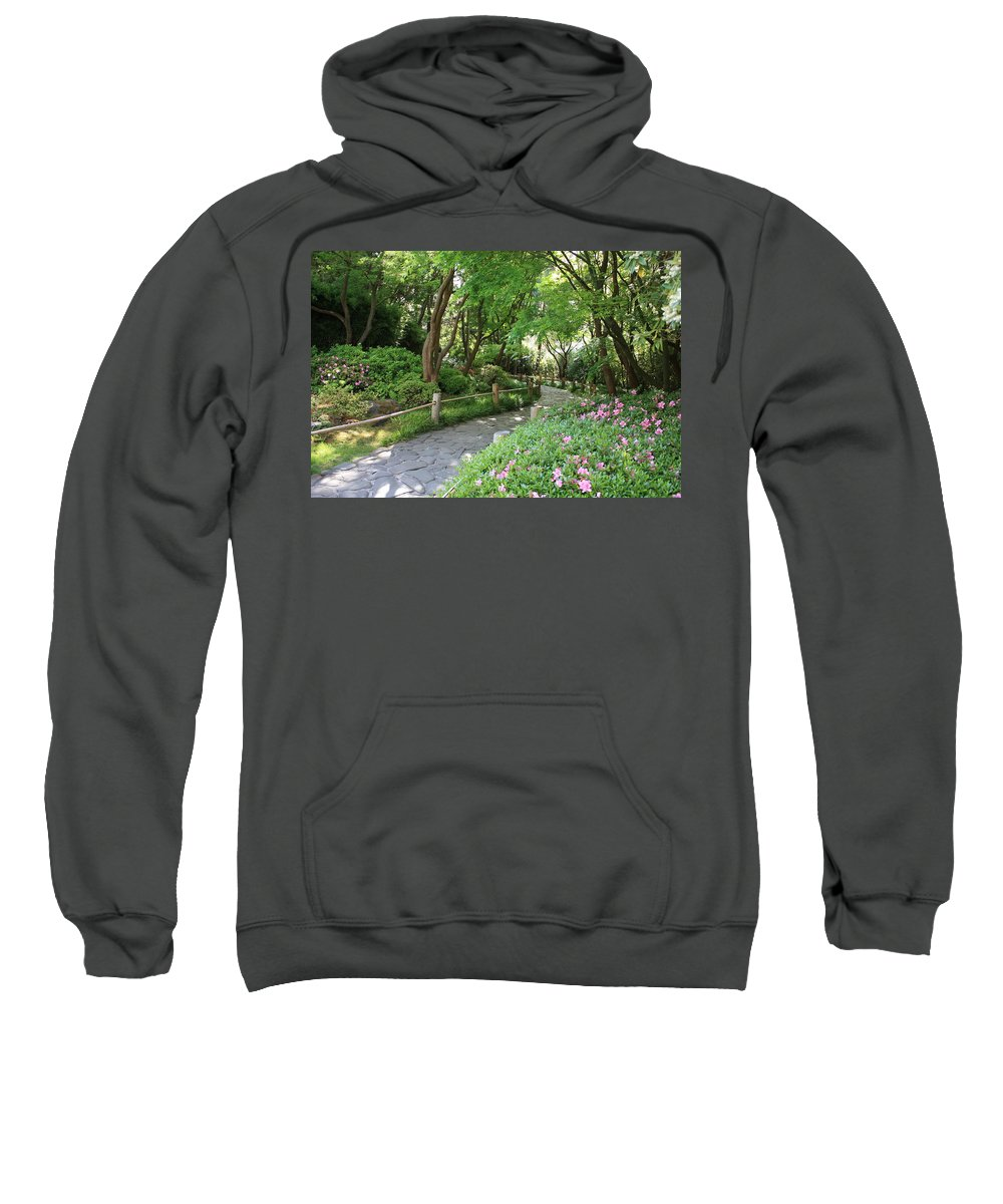 Garden Path Sweatshirt featuring the photograph Peaceful Garden Path by Carol Groenen
