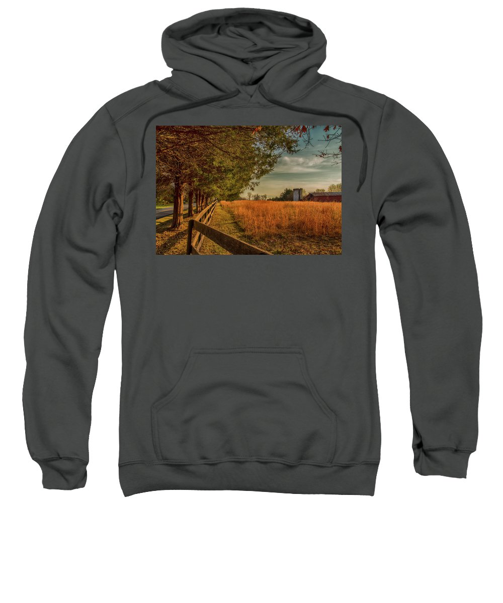 Farm Sweatshirt featuring the photograph Peaceful On The Fam by Cliff Middlebrook