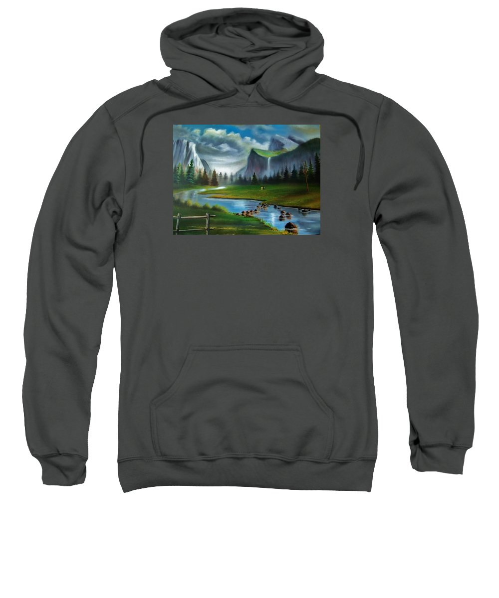 Landscape Sweatshirt featuring the painting Peaceful Retreat by Scott Easom